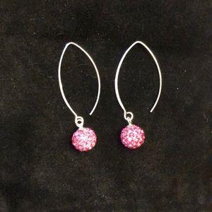 Swarovski Crystal Sterling Silver & Pink Earrings